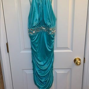 Turquoise ruched party dress